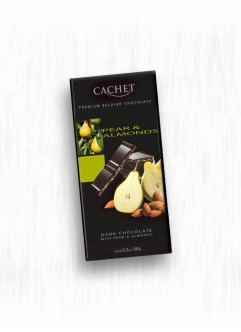 CACHET DARK CHOCOLATE WITH PEAR & ALMONDS
