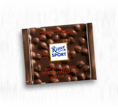 RITTER SPORT DARK CHOCOLATE WITH WHOLE HAZELNUTS