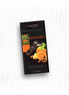 CACHET DARK CHOCOLATE WITH ORANGE & ALMONDS