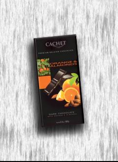 CACHET DARK CHOCOLATE WITH ORANGE & ALMONDS