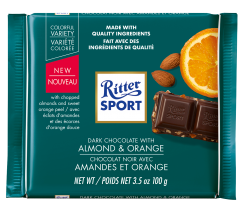 RITTER SPORT DARK CHOCOLATE WITH ALMONDS & ORANGE