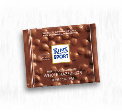 RITTER SPORT MILK CHOCOLATE WITH WHOLE HAZELNUTS
