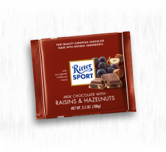 RITTER SPORT MILK CHOCOLATE WITH RAISINS AND HAZELNUTS