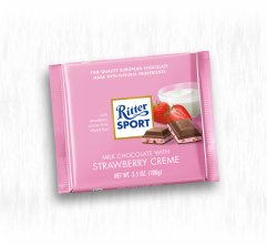 RITTER SPORT MILK CHOCOLATE WITH STRAWBERRIES AND CRÈME