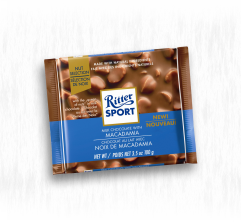 RITTER SPORT MILK CHOCOLATE WITH MACADAMIA NUTS