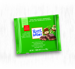 RITTER SPORT MILK CHOCOLATE WITH CHOPPED HAZELNUTS